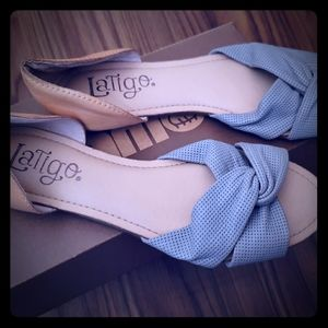 Blue and Tan flat shoes